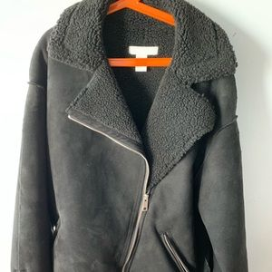 Faux suede and shearling jacket black coat H&M